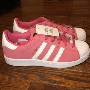 New pink adidas superstar sneakers